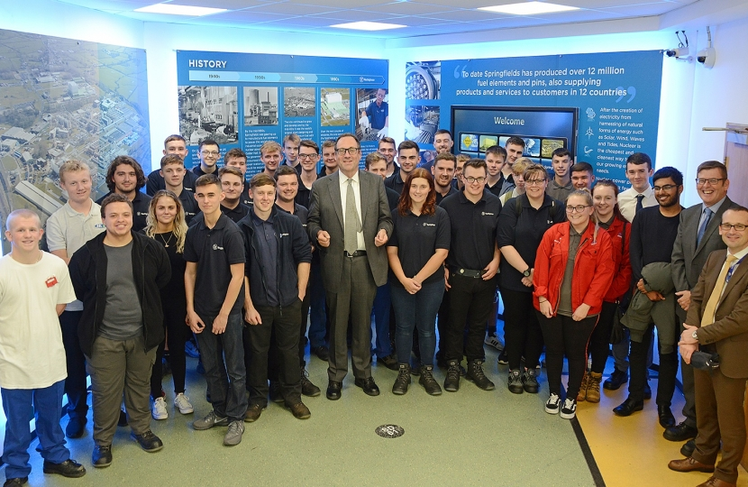 Minister Richard Harrington with Springfields apprentices