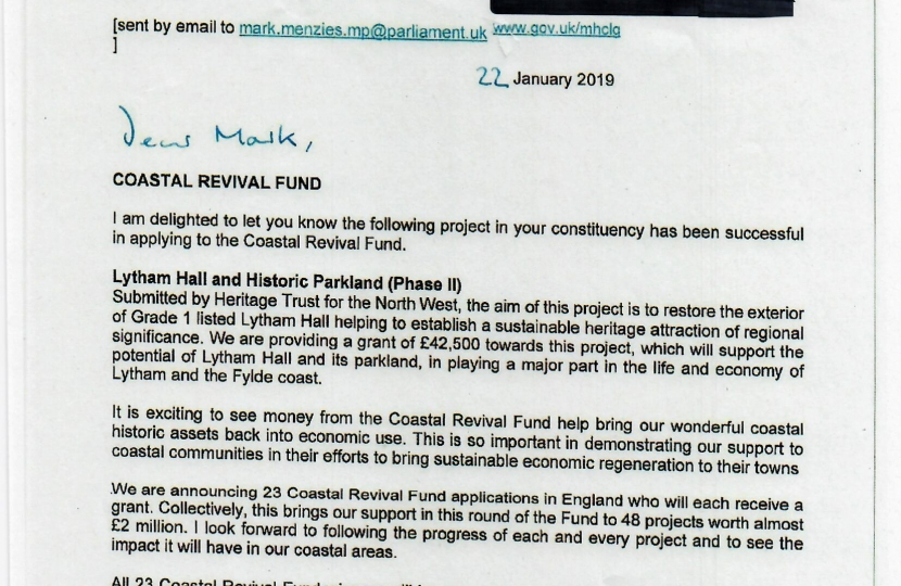 The letter awarding £42,500 to Lytham Hall from Secretary of State James Brokenshire