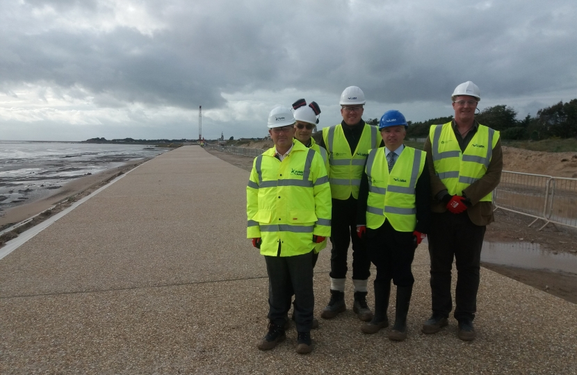 Mark Menzies MP visiting contractors working on the £19.5 million flood defence upgrade