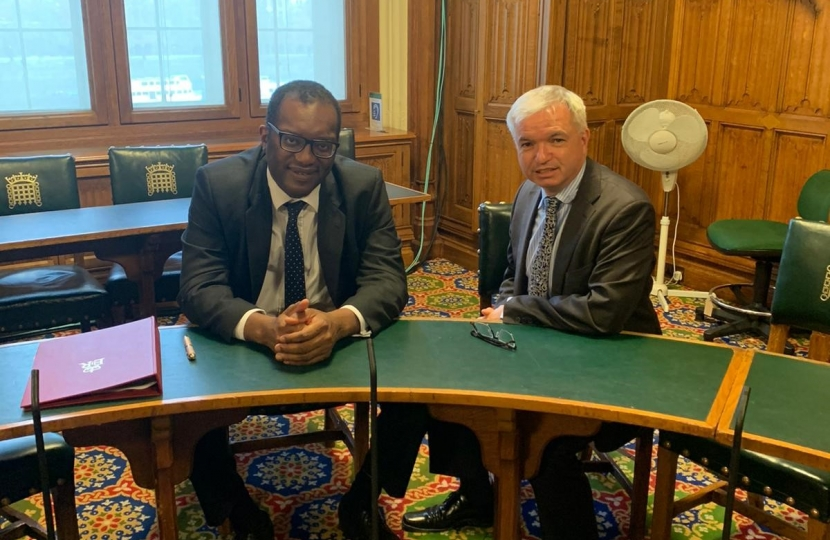 Mark with minister Kwasi Kwarteng