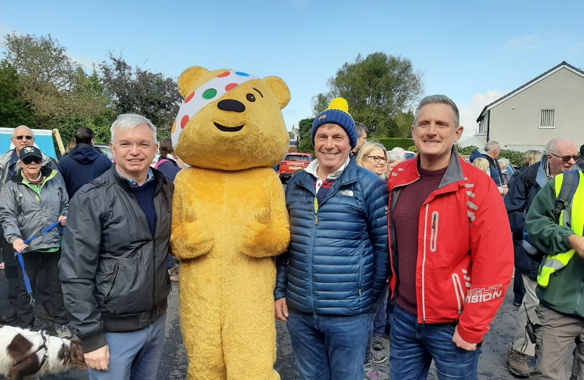 Mark Menzies MP with Pudsey, Coun Tommy Threlfall and the BBC's Graham Liver