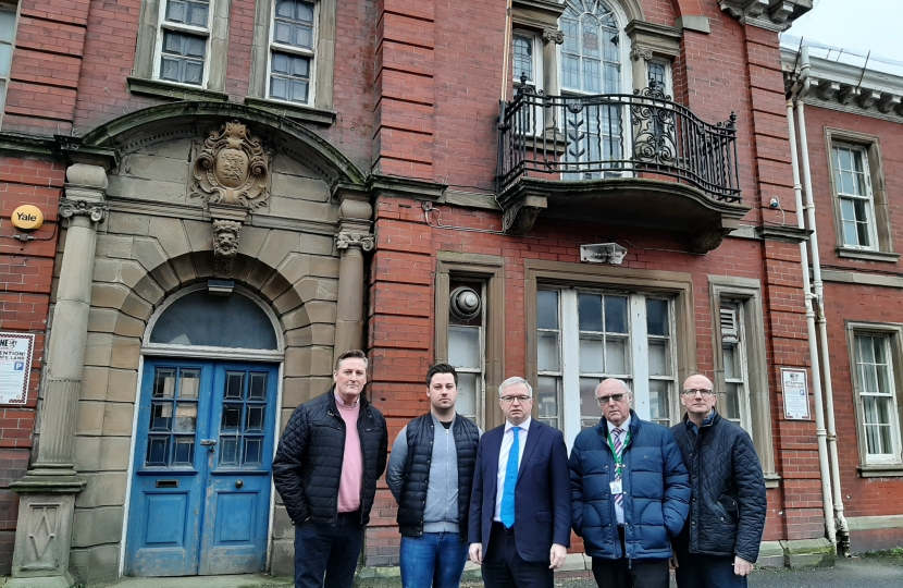 Cllrs Peter Anthony and Michael Sayward, MP Mark Menzies, Cllr Ray Thomas and County Cllr Tim Ashton outside Lytham Police Station
