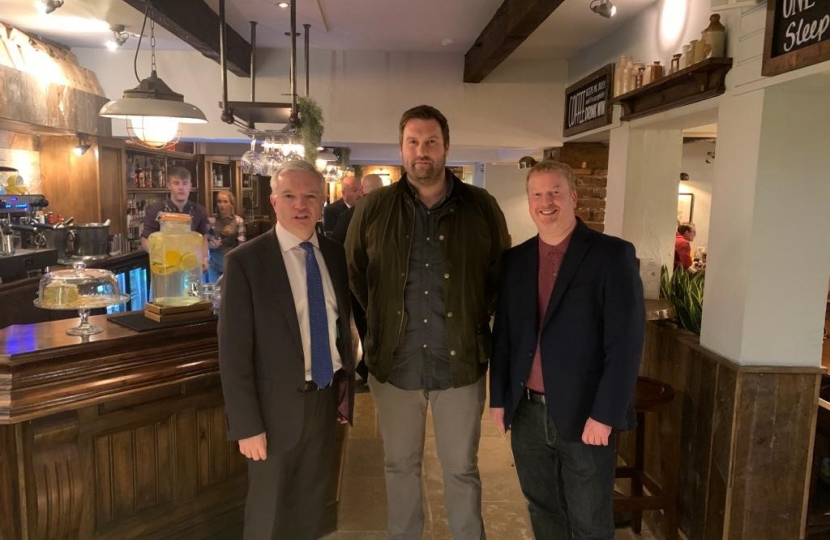 Mark Menzies MP with on a recent visit to the revamped Ship Inn in Freckleton, with owner Ross Robinson and Heineken's Guy Mason